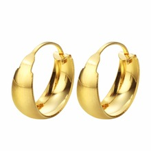 b86aa2936 CHENGXUN Solid Gold Hoop Earrings for Women Gypsy handmade Big hoops  Earring Men Jewelry(China