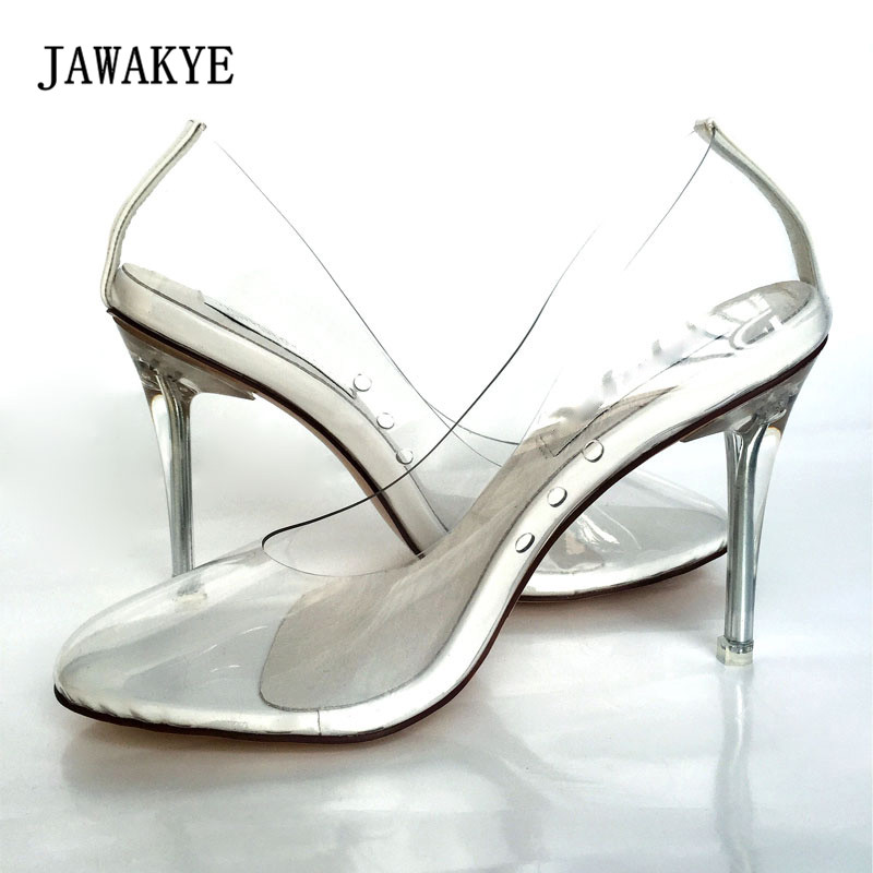 2018 Fashion PVC Transparent Shoes Woman Round Toe Clear Crystal High Heel Shoes Femme Sexy Pumps new arrival pvc transparent shoes woman open toe clear strange heel pumps woman fashion party shoes