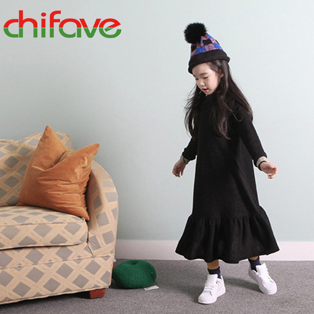 chifave 2016 New Spring Autumn Baby Girls Dress Clothes Mid-calf Long Sleeve O-neck Ruched Trumpet Dress for 3-9 years old Girls