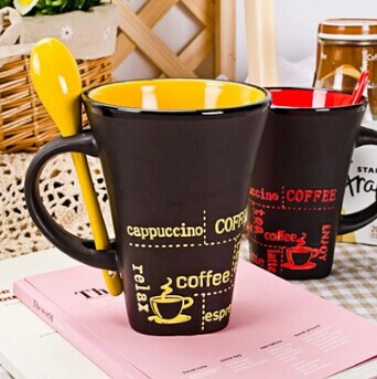 Matt Coffee Cup Set retro mug Black ceramic cups simple personality