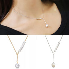 Japan and South Korea new personality temperament sweet imitation pearl necklace female clavicle chain adjustable thin chain(China)