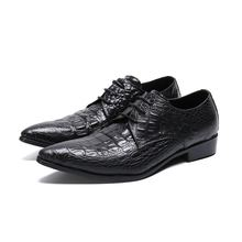 New fashion black genuine leather crocodile mens pointed toe dress shoes formal wedding spiked loafers plus size47 italian