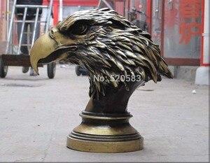 "15""China ART Bronze Eagle Predatory bird of prey Accipitridae hawk bust statue|bird of prey|birds birds|bird art -"