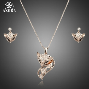 Image 1 - AZORA My Fox Lady Rose Gold Color Austrian Rhinestone Paved Fox Pendant Necklace and Earring Set TG0074