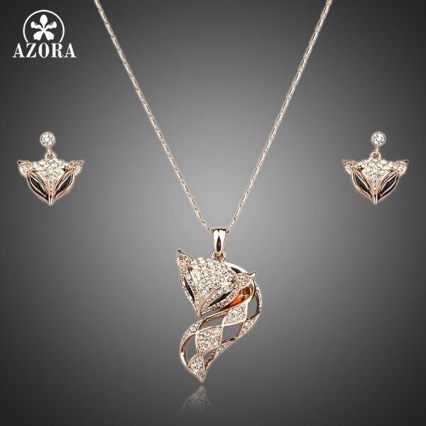 AZORA My Fox Lady couleur or Rose strass autrichien pavé renard pendentif collier et boucle doreille ensemble TG0074