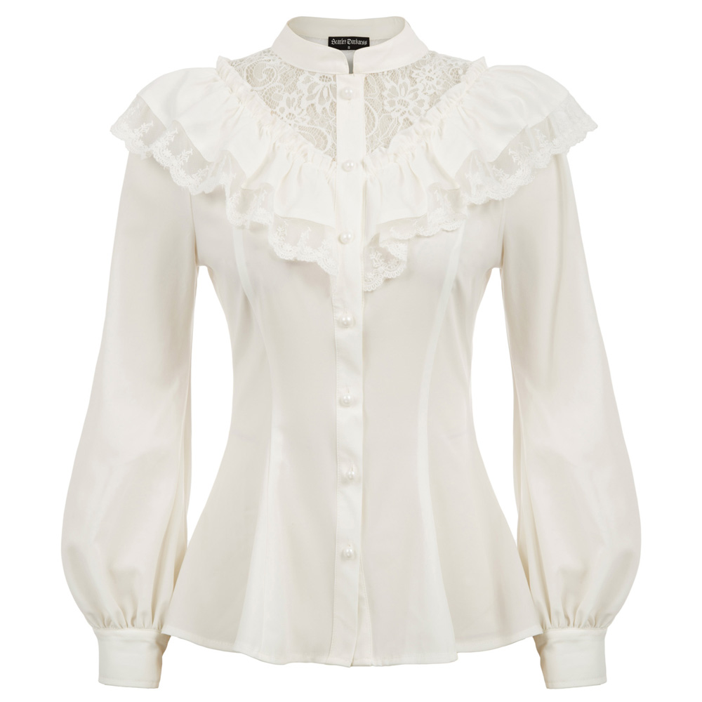 Women's Renaissance Shirt Long Sleeve Stand Collar Ruffle Decorated Lace Buttons Party Blouse Retro Ladies Vintage Shirt Tops