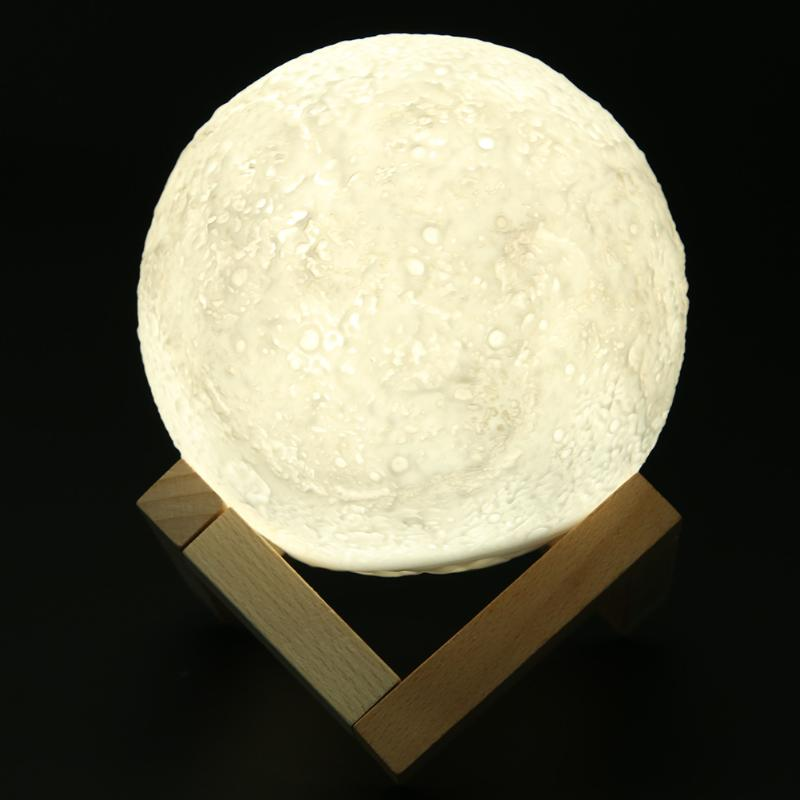 13mm Rechargeable 3D Print Moon Lamp Change Touch Switch Bedroom Bookcase Usb Led Night Moon Light Home Decor Creative Gift