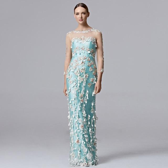 6042c82ca0b43 Coniefox 31355 fiori lungo blu vestiti da sera della sirena da cerimonia  abiti da sera