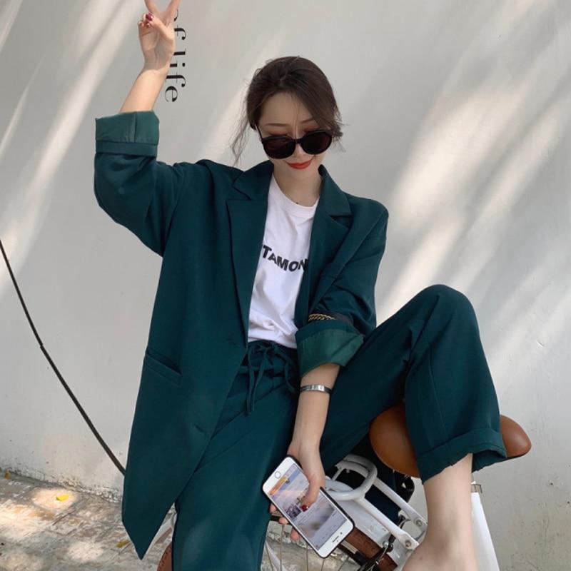 Vintage Drak Green Women Pant Suits Notched Collar Blazer Jacket Drawstring Straight Pants Female Casual 2