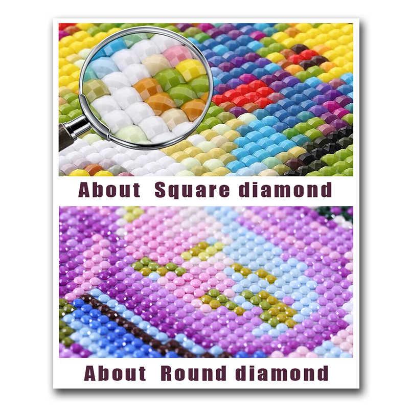 """كامل مربع/جولة الماس 5D DIY الماس اللوحة """"الجمجمة و زهرة"""" 3D الماس التطريز الكرتون يونيكورن عبر غرزة المنزل d"""