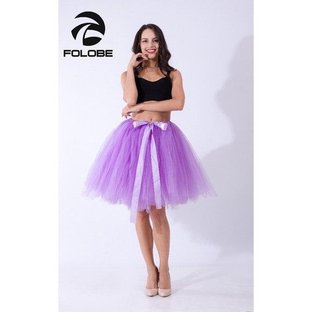 5c1800e9bc FOLOBE Light Purple Midi Tulle Skirt Tutu Skirts Women Ball Gown Party  Petticoat faldas saia jupe TT010