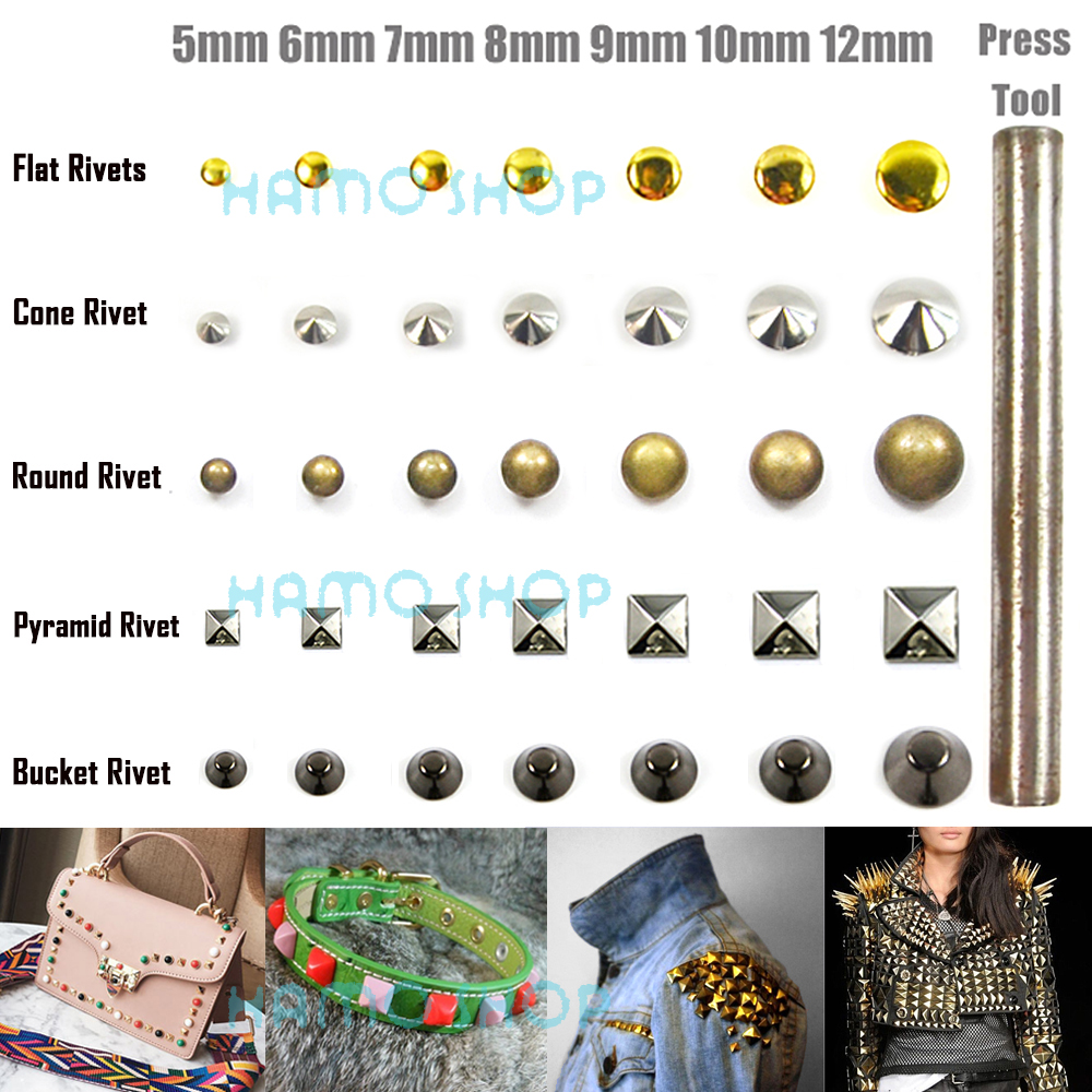 100pcs/lot Free Shipping Metal Fashion All Size Shape Rivet Spike Studs Nail Leather Clothing Decoration Craft DIY With Tool