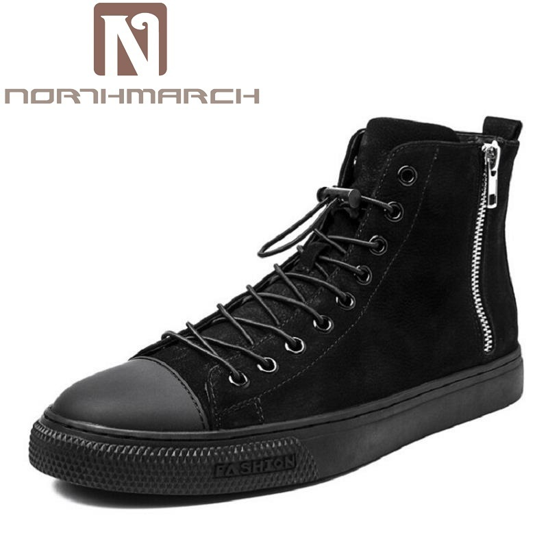 NORTHMARCH 2017 Genuine Leather High-Top Cowhide Shoes Men Leather Shoes For Men Casual Boots Shoes Winter Men Ankle Boots opp 2017 men boots genuine leather high top casual shoes fashion style winter boots men full grain leather shoes ankle boots