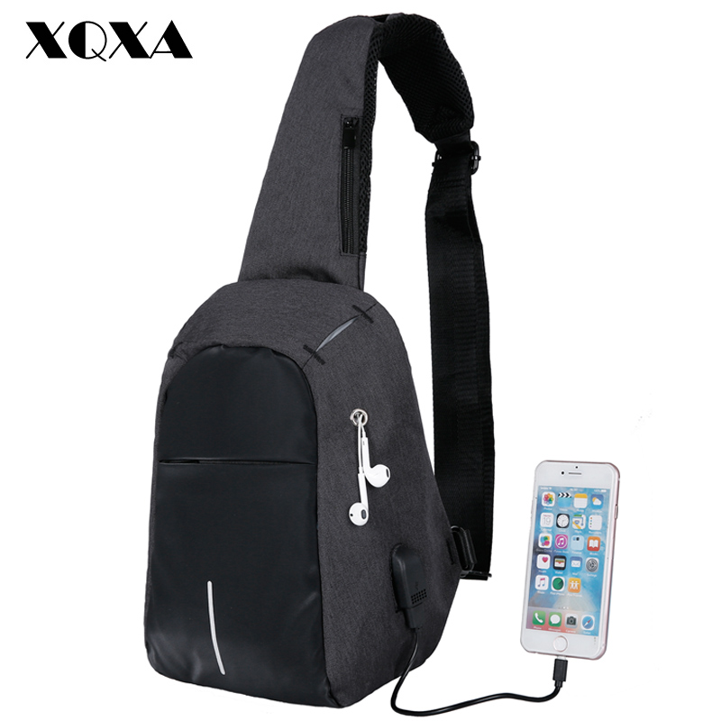 XQXA 2018 Nouvelle Mode Sling Sac USB De Charge Épaule Sac Léger Poitrine Pack Grande Capacité Oxford Sac À Bandoulière pour les Hommes