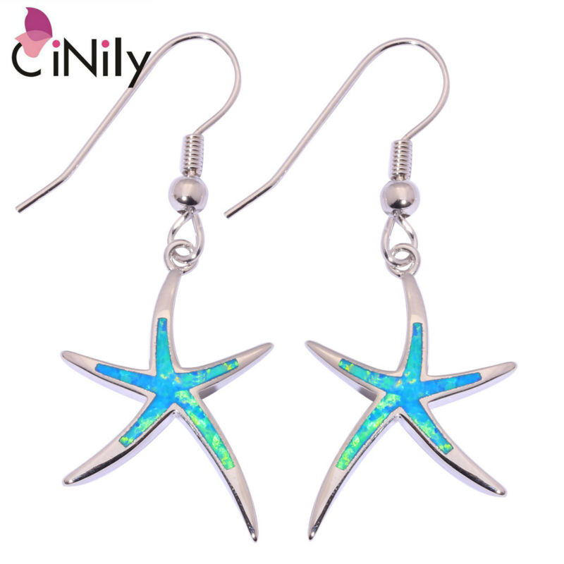 CiNily Created Blue White Fire Opal Silver Plated Wholesale Lovely Starfish for Women Jewelry Dangle Earrings 1 5/8