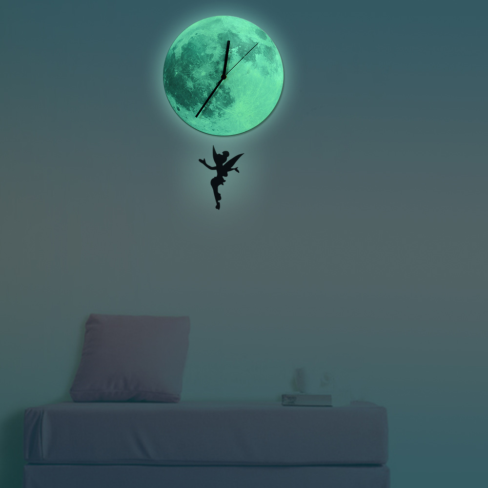Aliexpress buy funlife fairy glowing moon pendulum clock aliexpress buy funlife fairy glowing moon pendulum clockglow in the dark moon wall clock home decorquartz silence for bedroom30cm from reliable amipublicfo Images