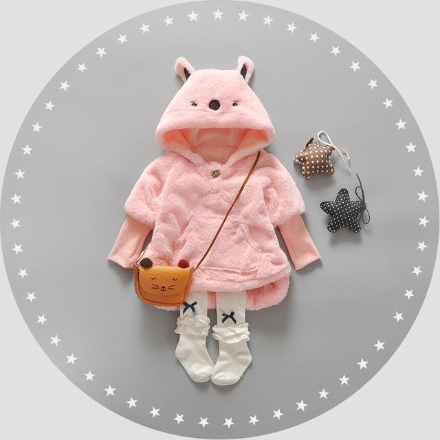 2016 Inverno Parka Mais Grossa de Veludo de Neve Meninas Do Bebê Desgaste Infantil Do Bebê Meninas Outerwear Casaco de Coelho Bonito Roupas para Meninas Da Criança