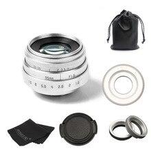 FUJIAN 35mm f1.6 C do montażu na KAMERA TELEWIZJI PRZEMYSŁOWEJ obiektyw II dla M4/3/MFT do montażu kamery i Adapter srebrny