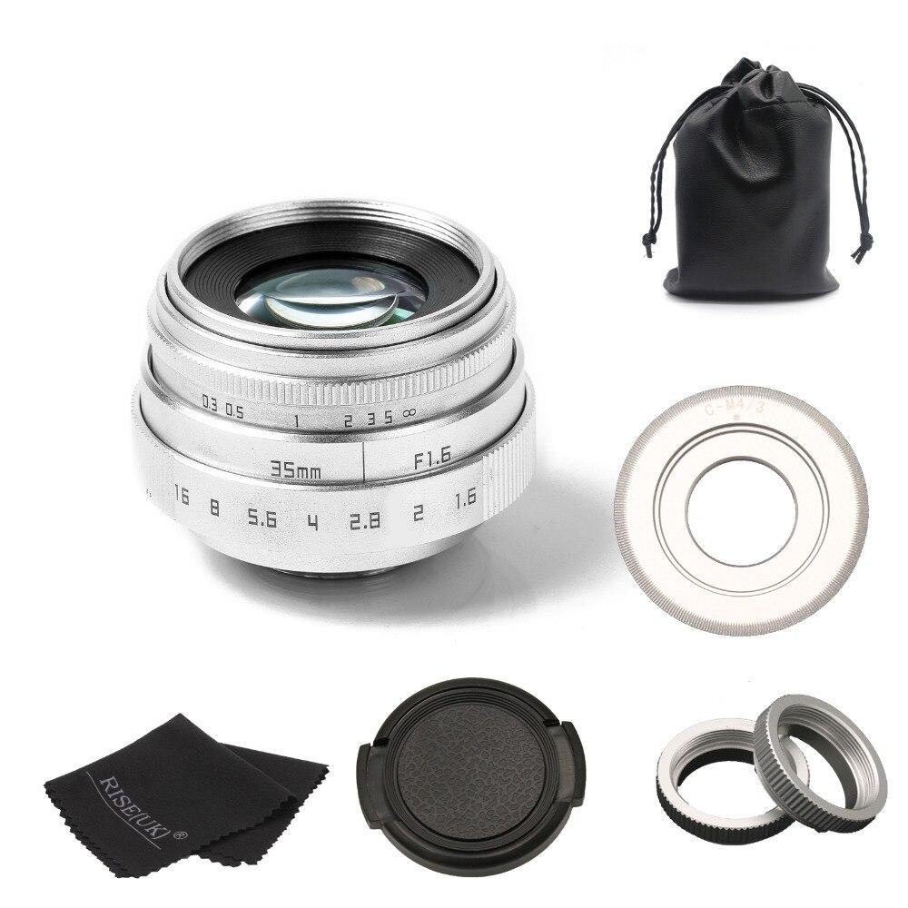 FUJIAN 35mm f1.6 C mount CCTV camera Lens II for M4/3 / MFT Mount Camera & Adapter silver free shipping