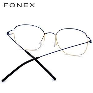 Image 2 - טיטניום סגסוגת אופטי משקפיים מסגרת גברים חדש מרשם משקפיים קוריאה נשים מותג מעצב קוצר ראיה ללא בורג Eyewear 98618
