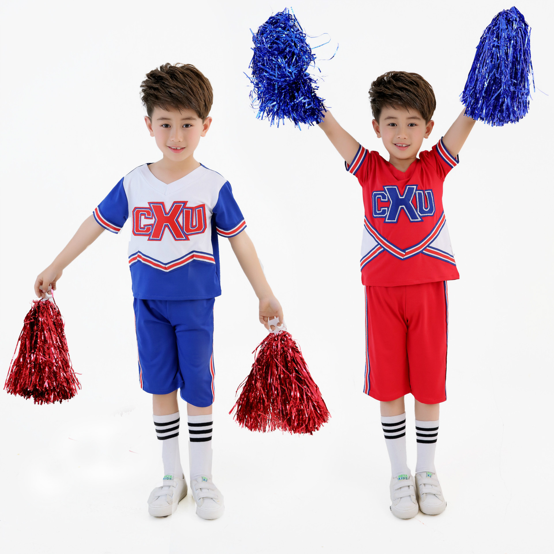 8e0d3405d KTLPARTY cheerleading student red blue boy girl children Musical Cheerleader  Costume Cheer Uniform Fancy suit T shirt skirt sock-in Ballroom from  Novelty ...
