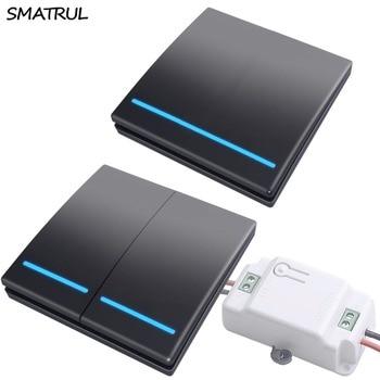 SMATRUL 433 Mhz אלחוטי מתג אור חכם לדחוף RF שלט רחוק AC 110 V 220 V מקלט 50 M קיר לוח לחצן שינה מנורת 1000 W