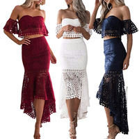 Sexy Two Pieces Cocktail Dresses Lace Short Front Long Back Party Dresses Vestidos Cocktail Party Prom Dresses