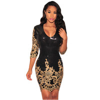 Hot Selling Fashion Women Office Mini Dress Autumn 2016 Vintage Black Gold Sequins 3 4 Sleeves