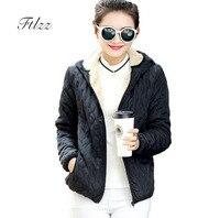 2018 New Women Black Padded Jacket Autumn Winter Slim Hooded Faux Wool Liner Short Coat Female Warm Outerwear Parkas Mujer