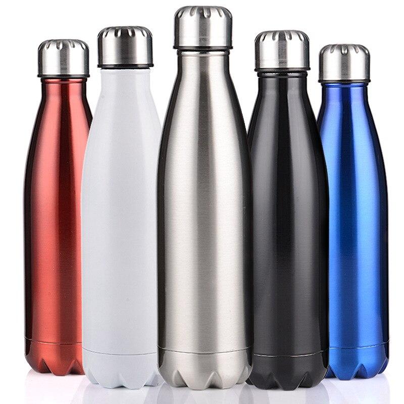 350/500/750/1000 ml de doble pared con aislamiento frasco de vacío de la botella de agua de acero inoxidable Cola agua cerveza termo para botella de deporte