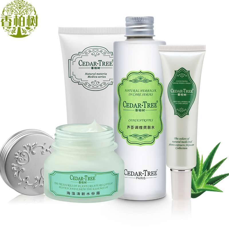 Cedar Tree Skin Care Set 4pcs & Oil Control Facial Cleanser Aloe Toner Cream Seaweed Cream Natural Aloe Vera Gel & Face Care Set