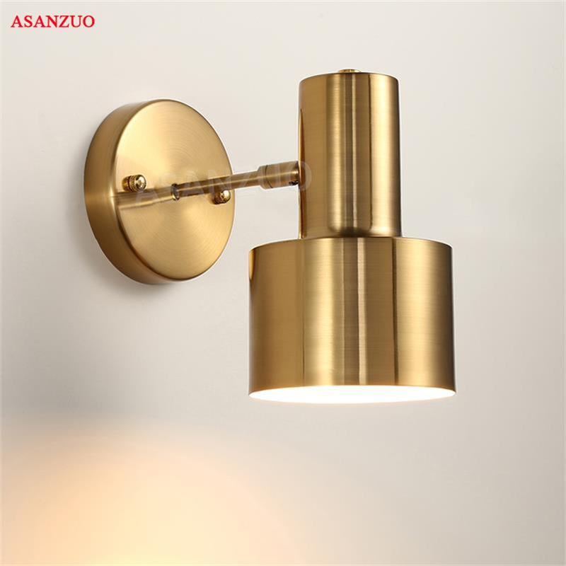 Nordic bedroom bedside wall lamp gold creative minimalist modern living room aisle bathroom wall lamp E27 LED Indoor Wall Lamps     - title=