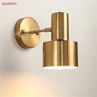 Nordic bedroom bedside wall lamp gold creative minimalist modern living room aisle bathroom wall lamp E27