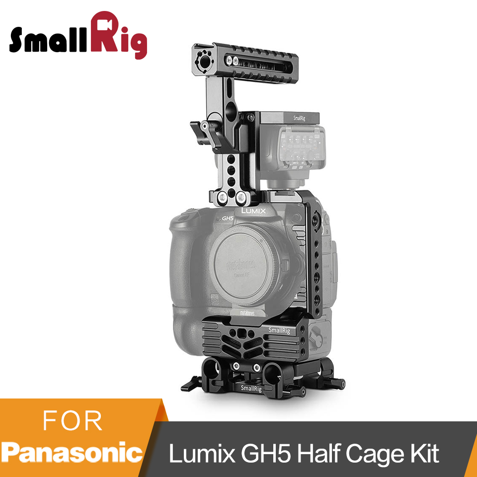 SmallRig GH5 Half Cage Kit for Panasonic Lumix GH5 with Battery Grip /Top Handgrip/ Dual Rod Clamp Baseplate System-2067 panasonic lumix gh5