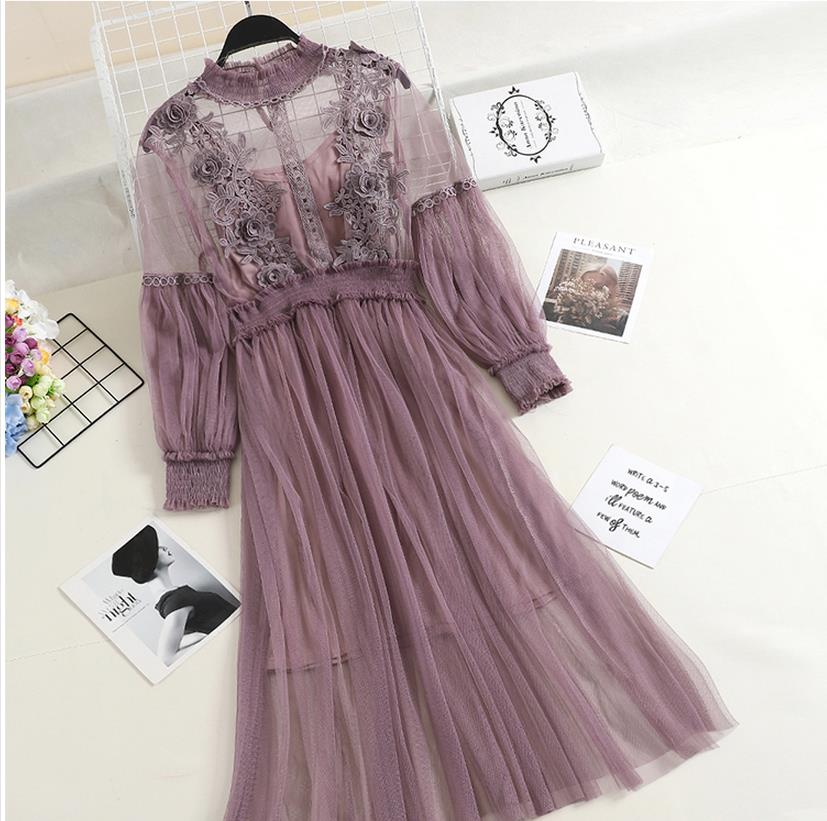 2020 Summer Long Lantern Sleeve Stand Collar Mesh Dresses Women Vintage Princess Embroidery Mesh Lace Dresses Sweet Mesh Dress