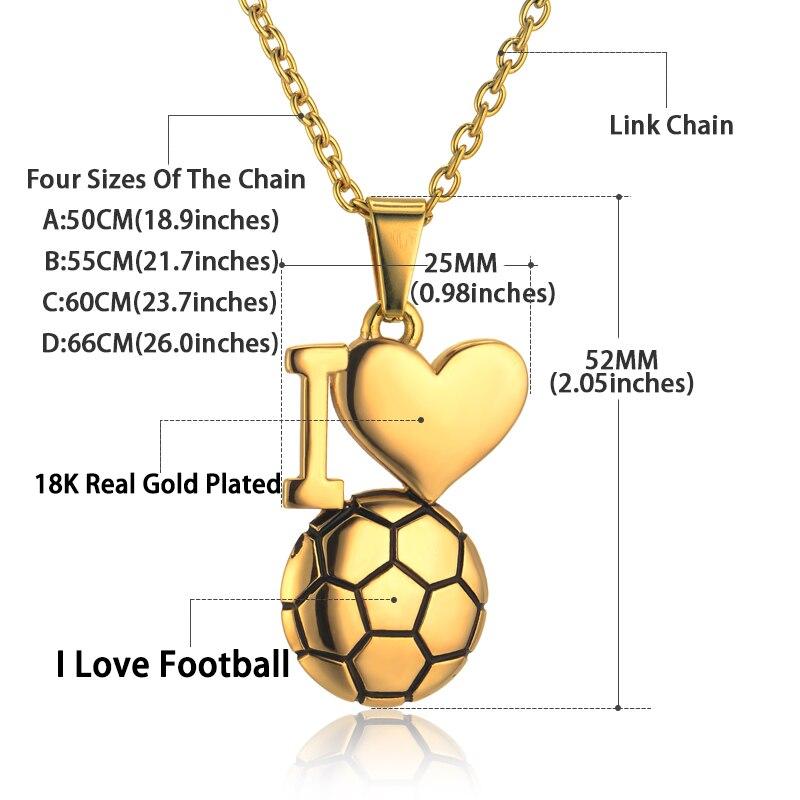 Emaille Fußball Halskette Gold Farbe Ich Liebe Fußball Anhänger - Modeschmuck - Foto 3