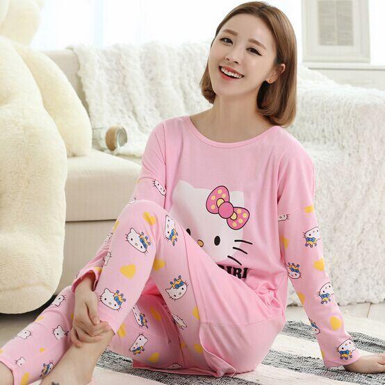 dda611d97 HOT new Hello kitty style Lady Korean cute pajamas loose long sleeve Cotton  Pajamas sleepwear and elegant pants sets