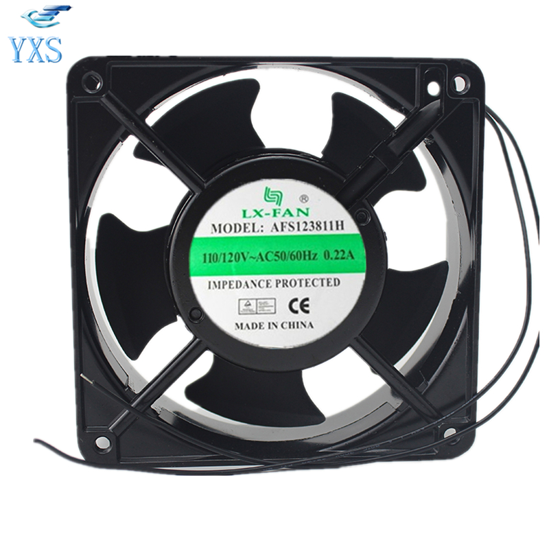 AFS123811H AC 110V-120V 0.22A 50/60HZ 2 Wires 12038 12cm 120*120*38mm 2 Wires Control Cabinet Welding Electric Cooling Fan delta afb1212hhe 12038 12cm 120 120 38mm 4 line pwm intelligent temperature control 12v 0 7a