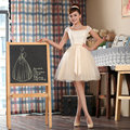 2017 new arrival korean style cute ball gown with bow and cap sleeve elegant women short fshion design homecoming dress
