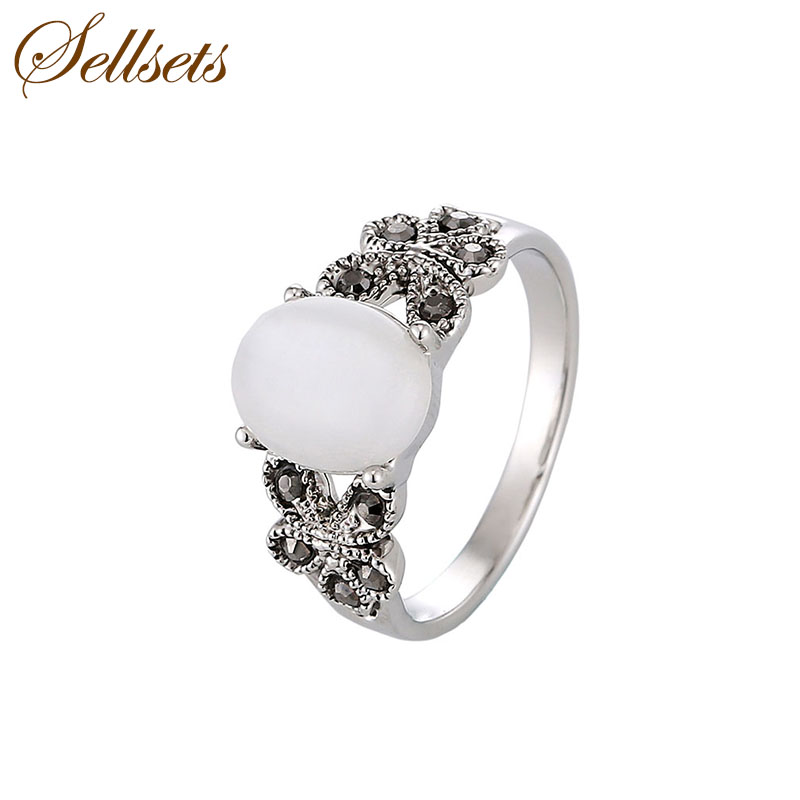 Sellsets Natural Stone Jewellery Female Ring White Gold Color Vintage Crystal And Opal Rings For Women Patry Gift