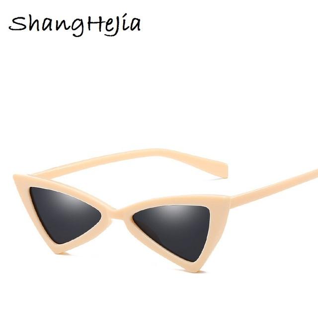 Small Triangle Cat Eye Sunglasses Women Fashion Vintage Cat Eyeglasses Female 2018 Stylish Sun Glasses UV400 Goggles