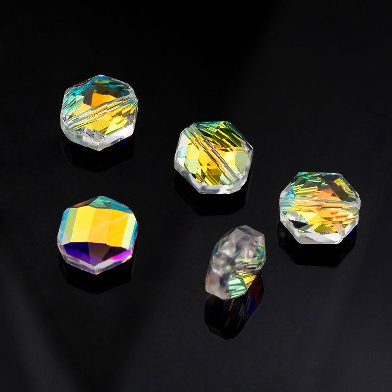 50pcs AB Color Plated Crystal Glass Bicone Loose Beads Faceted Colorful 4.5x4mm