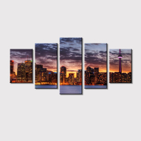 Wall Art Canvas Prints Sunset Chicago Skyline City View Canvas Art Painting 5 Pieces Modular HD Print for Office Home Decor