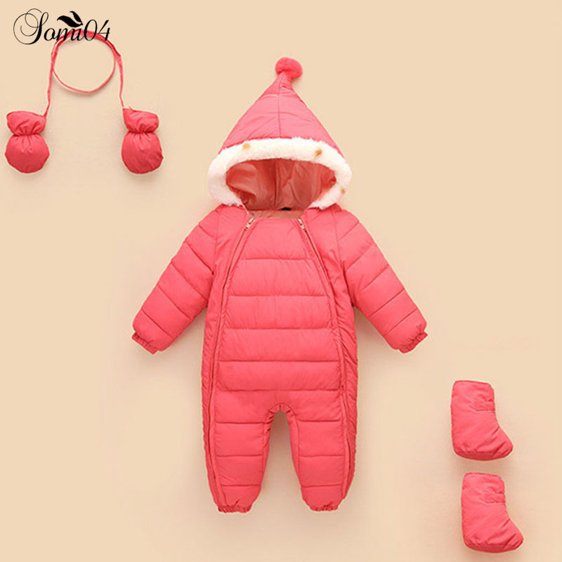 2018 Winter Newborn Baby Cotton Padded Warm Jacket Coat Siamese Clothes Infant Girls Boys Bodysuits Gift Gloves + Socks 3 Pieces pregnant women of han edition easy to film a word long woman with thick cotton padded clothes coat quilted jacket down jacket