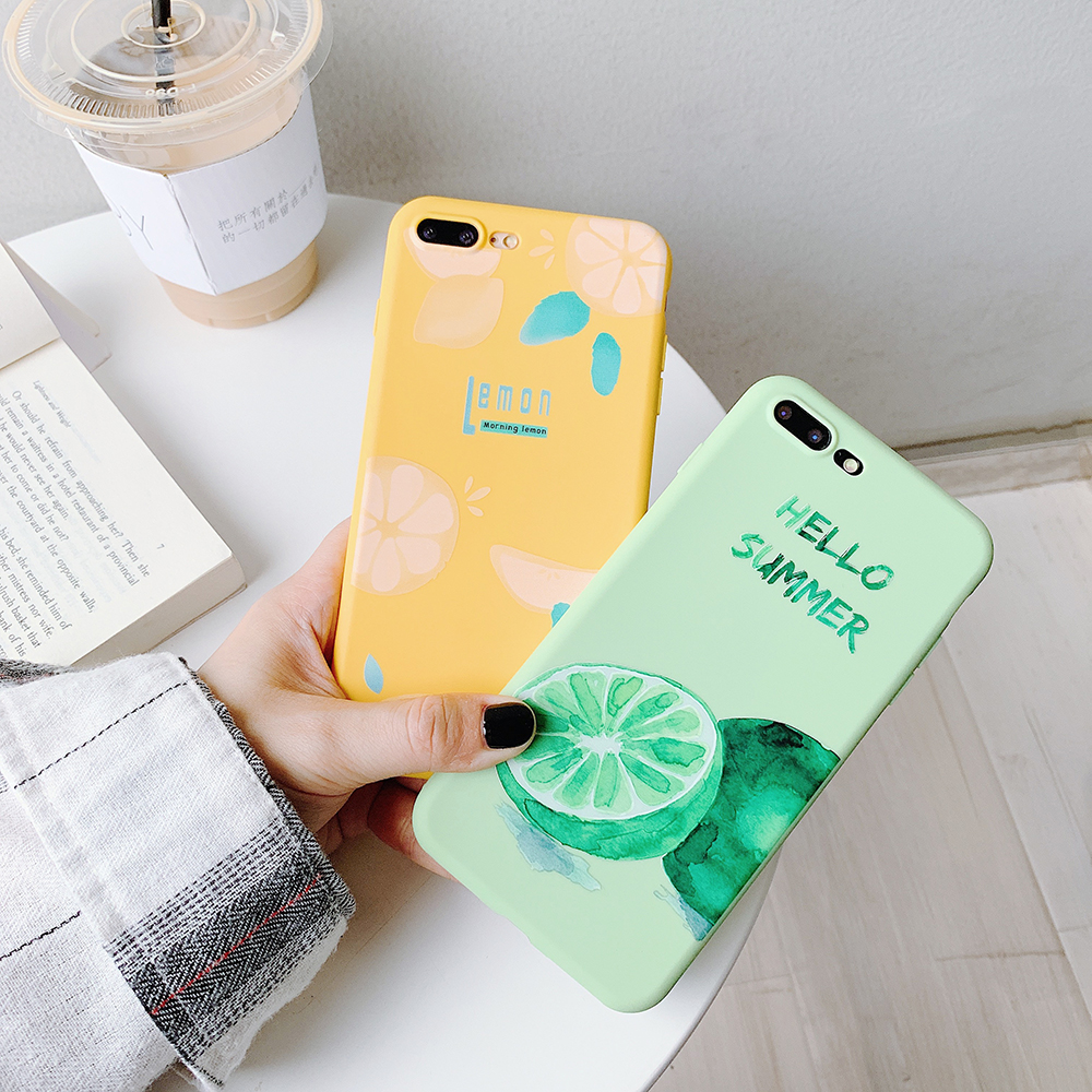 LISM Casing For iPhone 6 6S 7 8 Plus X XR XS Max Summer Fruits Lemon Watermelon Soft TPU Phone Case Cover Anti knock Protector in Fitted Cases from Cellphones Telecommunications