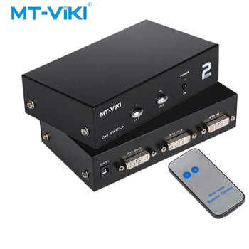 MT-VIKI 2 Port DVI Switch Box 2 in 1 out Dual Eingang IR Fernbedienung Unterstützung Wählen Sie 2048*1536 MT-DV201