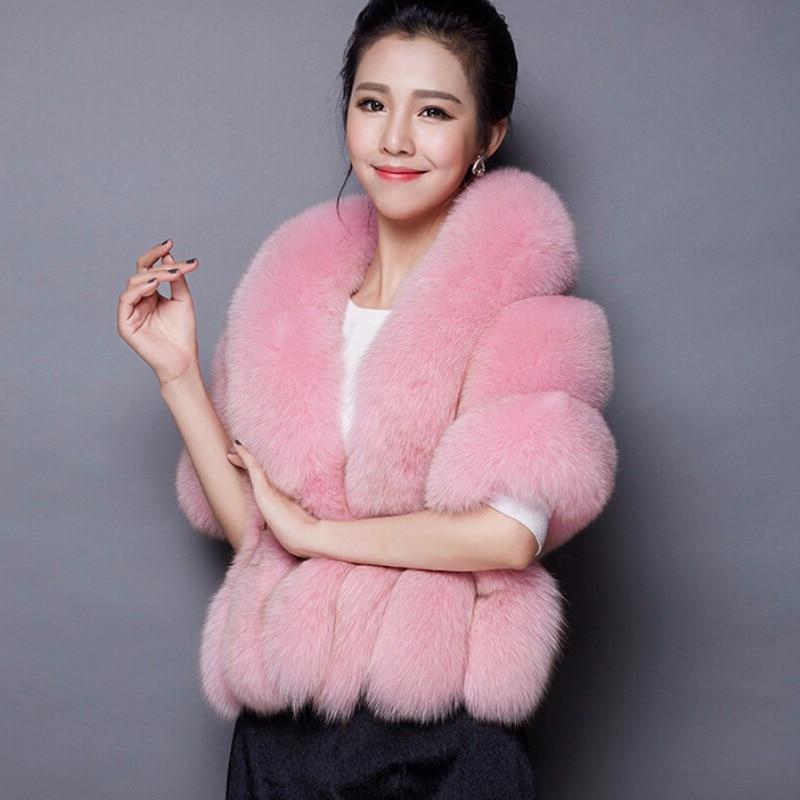 07d4bdf06f7 Winter women faux fox mink fur cape Poncho coat thick warm wedding shawl  FS0345