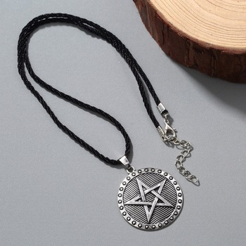 Kinitial Vintage Norse Viking Pentacle Pentagram Pendant Necklace Protection Star Amulet Necklace Jewelry for Men Women Choker image