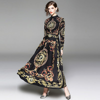 d981117224a553 Spring Printing Standing Collar Long Sleeve Ankle Length Dress Baroque  Retro Palace Style Elegant Maxi Dresses