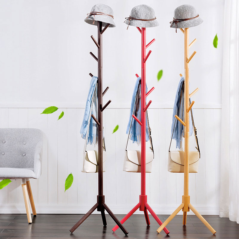 Simple Solid Wood Floor Standing Coat Rack Living Room
